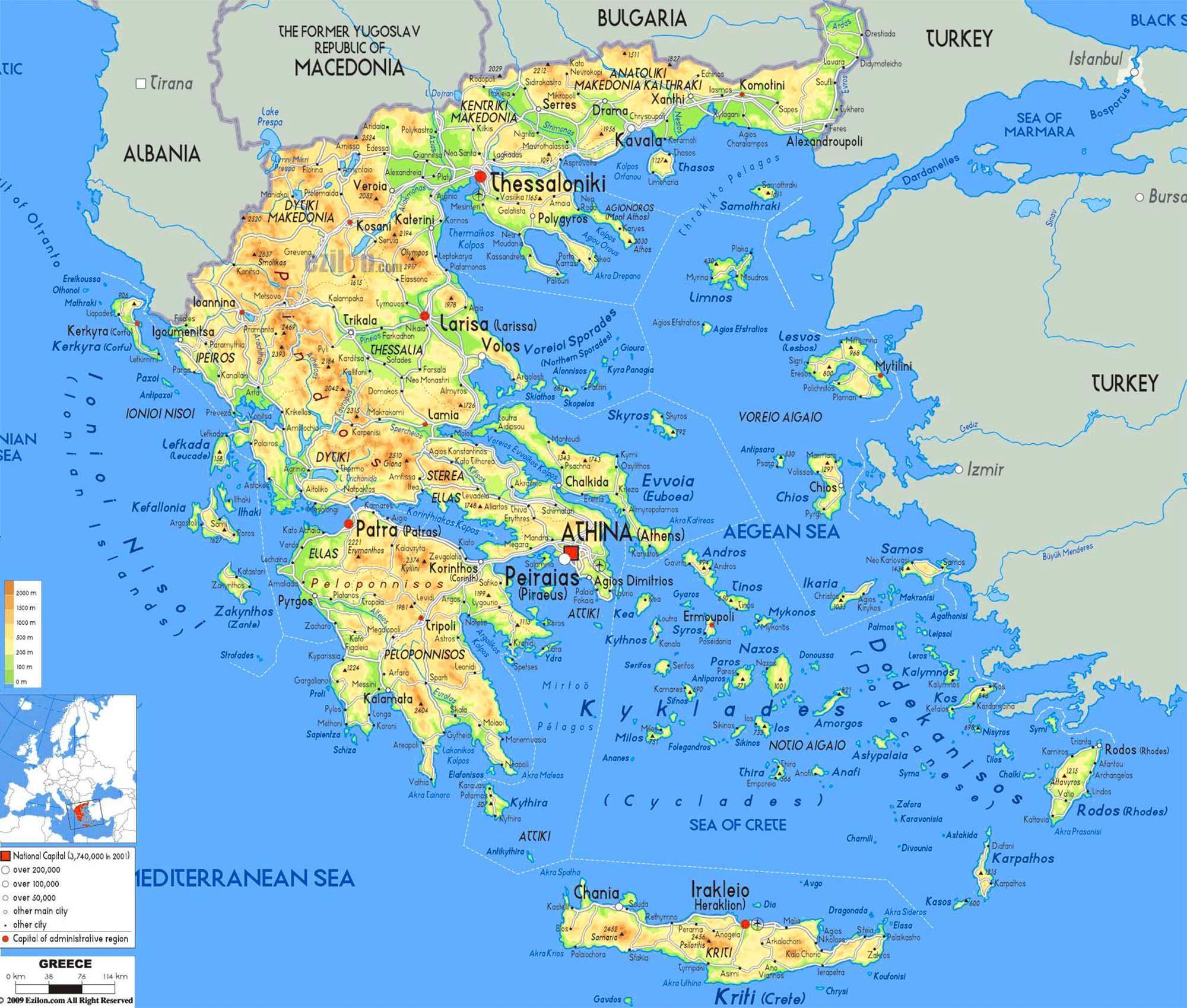 Conhecido Mapa de ilhas gregas - ilhas gregas mapa (Sul da Europa - Europa) PN53