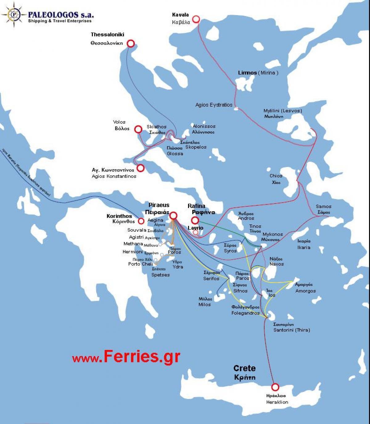 Favoritos Ilha grega de ferry mapa de rotas - Mapa de ilhas gregas rotas de  MB38